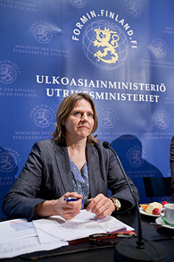 Minister for International Development Heidi Hautala presented the findings of the survey on development cooperation at a press conference on 5 July, 2011. Photo: Eero Kuosmanen