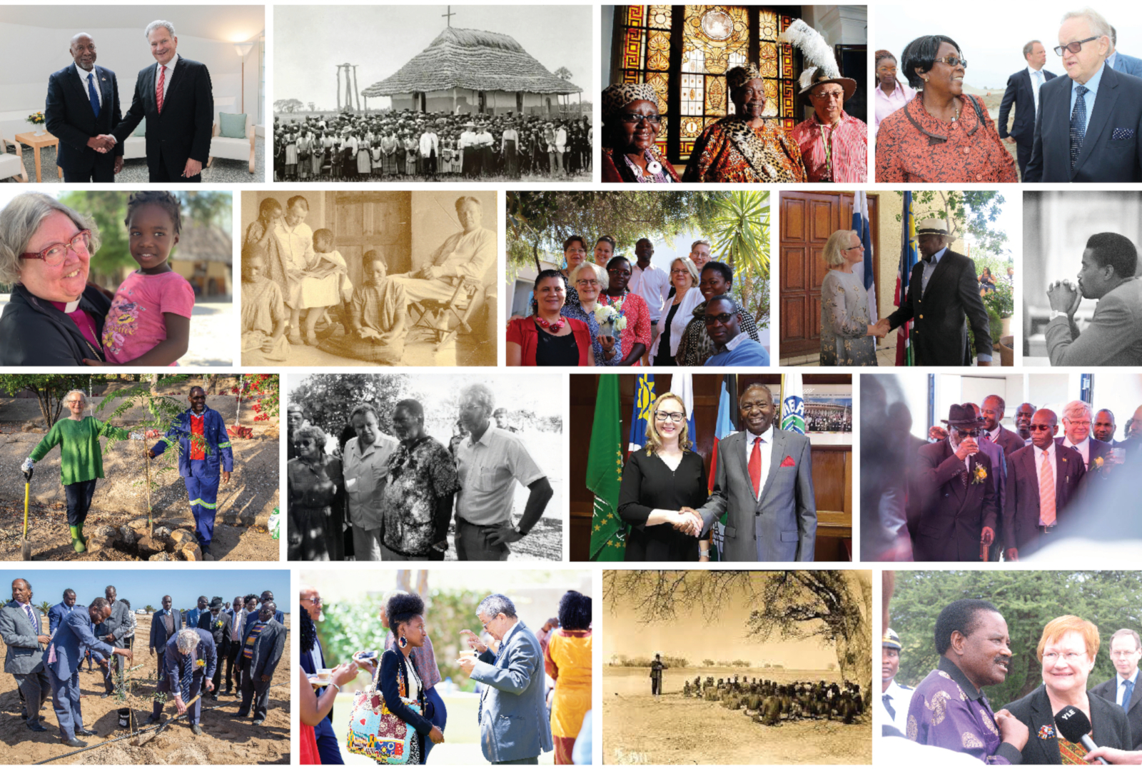Photo collage depicting the 150 years of friendship between Finland and Namibia.